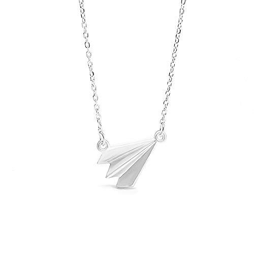 ZXYXYJS Mode Silber Papier Flugzeug Halskette Mode Reine Silber Sen Linie Kind Spaß Anhänger Anhänger Schlüsselanhänger Kette Frauen kleine frische Accessoires