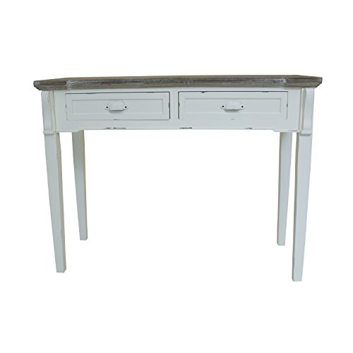 Charles Bentley Shabby Chic/Distressed French Style 2 Drawer Console/Dressing/Hallway Table White