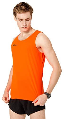 TLRUN Men's Running Tank Top Ultra Lightweight Marathon Singlet Shirts Dry Fit Workout Sleeveless T-Shirt(Large Orange)