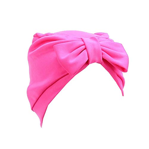 Bigood Femme Chapeau Nœud Papillon Bonnet Doux Turban Foulard Islamique Cramoisi