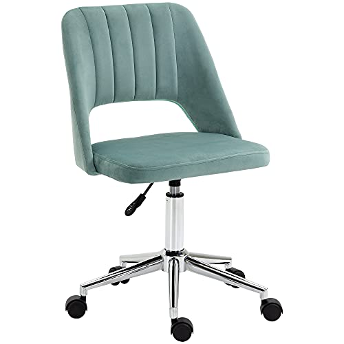 Vinsetto Mid Back Office Chair Velvet Fabric Swivel Scallop Shape Computer Desk Chair for Home Study Bedroom, Green