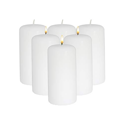 CandleNScent 3x6 White Pillar Candles Unscented (Pack of 6)