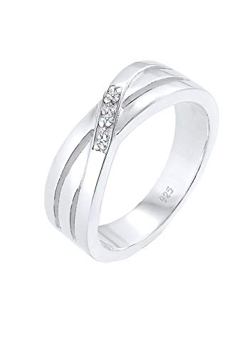 DIAMORE Ring Damen Cross Over Verlobung mit Diamant (0.03 ct.) in 925 Sterling Silber