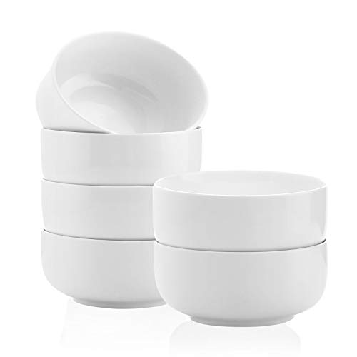 Kanwone Porcelain Bowl Set - 32 Ounce for Cereal, Salad and Soup, Microwave and Dishwasher Safe - Set of 6, White