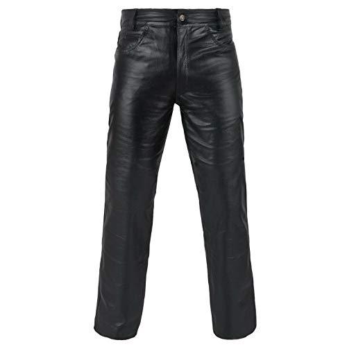 FNine - Pantalón de piel auténtica de grano completo para motocicleta, estilo motocicleta -  Negro -  42W