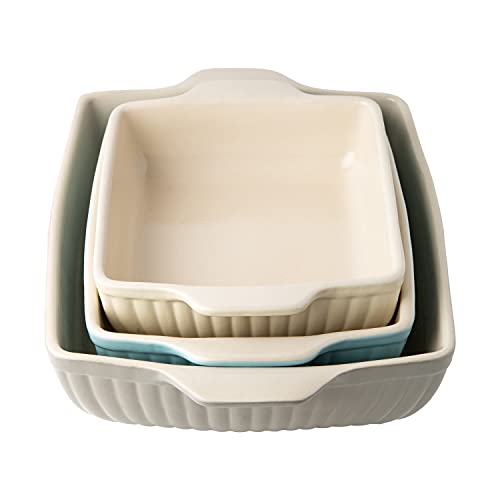 Classic Farmhouse Ceramic Bakeware Set of 3 – Quality Stoneware Made in Portugal - Small, Medium & Large Casserole Dish for Baking & Cooking–Oven & Freezer Safe – Rectangular Baking Pans for Cakes, Lasagna & More