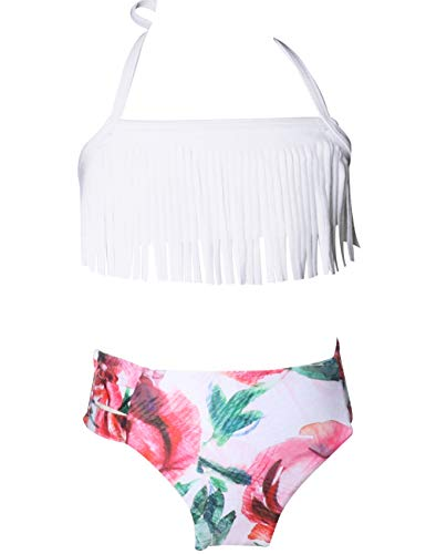 Echinodon Mädchen Bikini Set Bademode mit Fransen Zweiteiler Neckholder Kinder Badeset Badeanzug Weiß 140