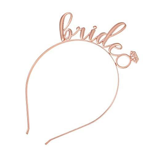 Shunyunfa Braut zu Sein Stirnband Mädchen Metall Haar Hoop Kopfbedeckung Kopfschmuck Junggesellenabschied Hut Haarband Diademe (Roségold)