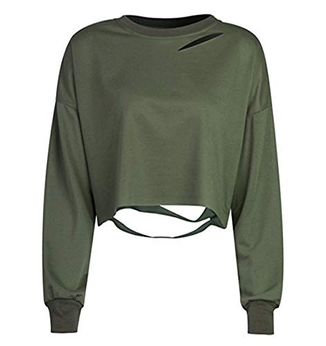 Simple-Fashion Casual Langarm Jumper Oberteile Pulli Mode Schicke Zerrissen Tops Pullover Blouse Frühling und Herbst Damen Kurz Sweatshirt