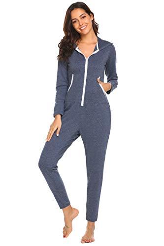 Ekouaer Zipped One Piece Thermal Underwears Romper hooded Jumpsuit Sleepwear for Women (B-Blue, Large)