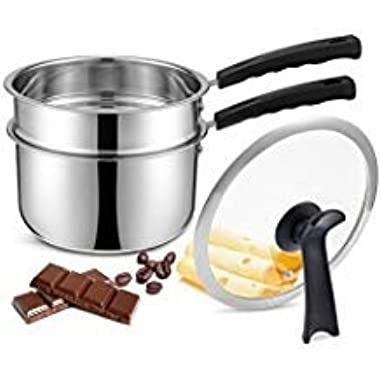 Double Boiler&Classic Stainless Steel Non-Stick Saucepan,Melting Pot for Butter,Chocolate,Cheese,Caramel and Bonus with Tempered Glass Lid