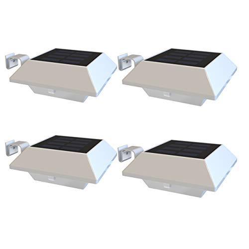 Solar Dachrinnenleuchten IP65 Wasserdichte Solarbetriebene LED Aussenlampe Solarlampen für Garten Wand Flur Treppen Hof Einfahrt Gehwegen (Kaltweiß Licht - Weiße Schale, 4 Stck. - 6 LED Solarleuchten)