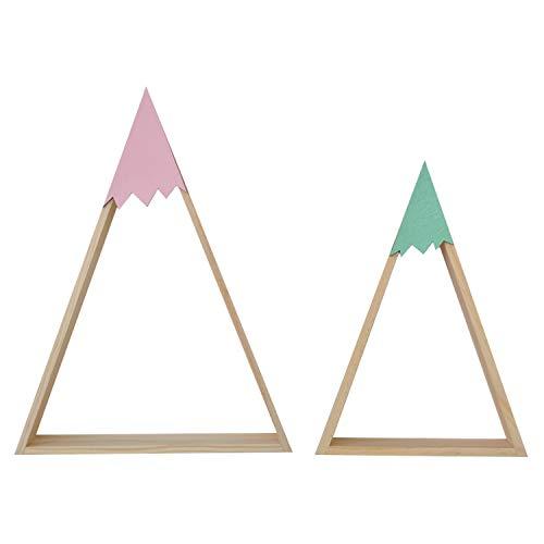 Nacnic 2 Estanterias de Pared Estilo nordico. Rosa y Turquesa. Estantes Triangulos de Madera. Estante Grande Rosa y pequeño Turquesa.