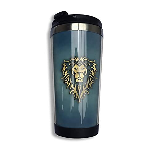 Game World Warcraft Alliance Flag Victory Taza de café reutilizable de acero inoxidable aislada taza de viaje para bebidas frías y calientes, 14 oz/400 ml