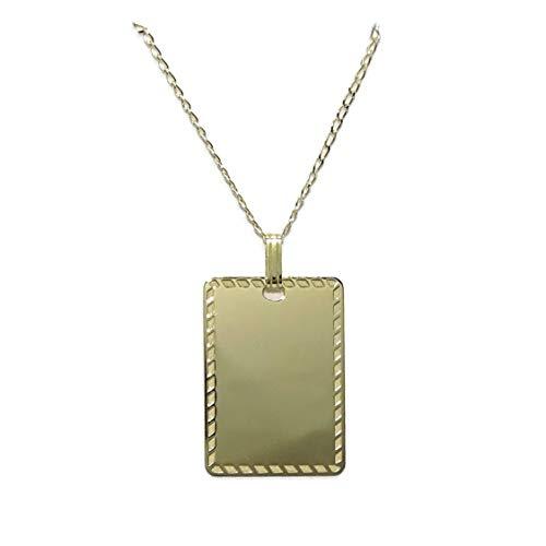 Never Say Never - Piastrina in oro giallo 18 carati, personalizzabile, con catena in oro giallo 18 k da 50 cm
