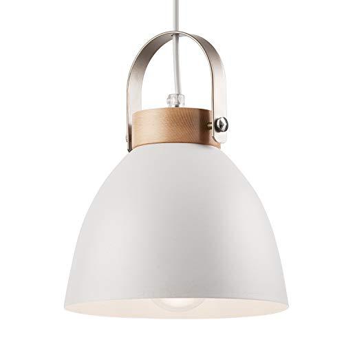 JVS Pendel-Leuchte Decken-Leuchte aus Metall E27 Hänge-Leuchte Vintage Industrieleuchte Wohnzimmerlampe Modern Wohnzimmer mit Kabel Vintagelampe für Wohnzimmer/Küche/Büro/Praxis (Weiss, 1-flammig)