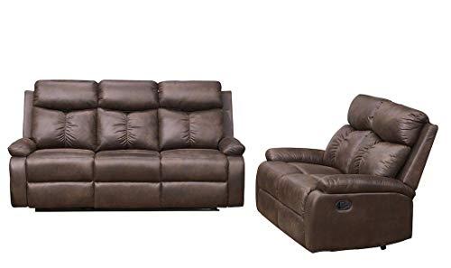 Betsy Furniture 2-PC Microfiber Fabric Recliner Sofa Set Living Room Set in Brown, Sofa and Loveseat, 8065-32