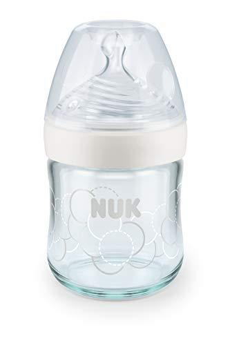 NUK Nature Sense Glas-Babyflasche, mit brustähnlichem Silikon-Trinksauger, Größe S, 120ml, 1 Stück, weiß