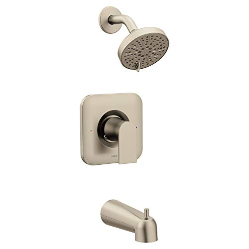 Moen T2473EPBN Genta Posi-Temp Pressure Balancing Eco-Performance Modern Tub and Shower Trim, Valve Required, Brushed Nickel