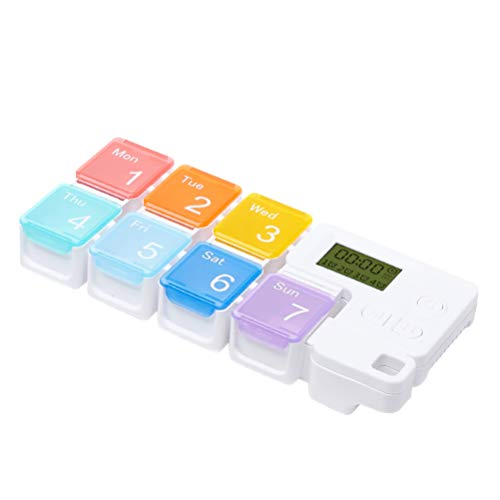 Healifty tragbare Pillendose 7 Fächer Pillendispenser mit Alarmanzeige tragbare Reise-Pillendose Pillendispenser mit digitaler Zeitschaltuhr ohne Batterie (Regenbogen)