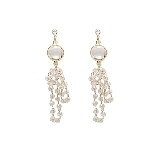 Pendientes de personalidad con borla de cristal transparente con aguja de plata S925 Pendientes largos elegantes Pendientes de moda