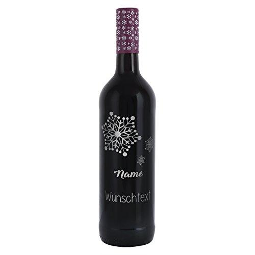 private Wine Landlust Dornfelder Glühwein 0,75l mit Gravur - Schneeflocken - mit Namen und Wunschtext