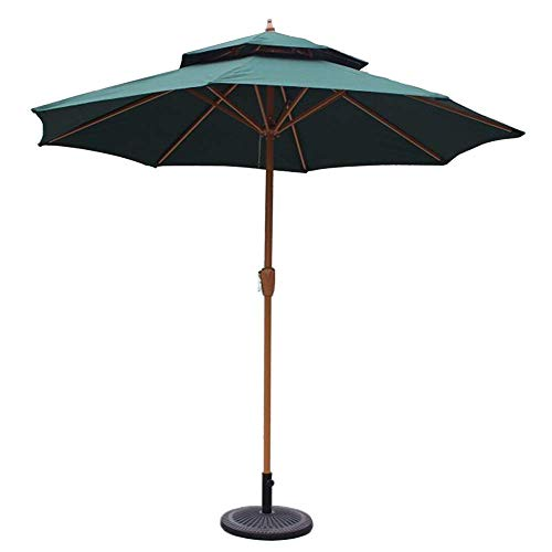 DFBGL Sombrilla de Patio de jardín con Doble Tapa de 9 pies / 270 cm con manivela, protección Solar para terraza, balcón, Piscina, Playa (Color: Verde Oscuro)