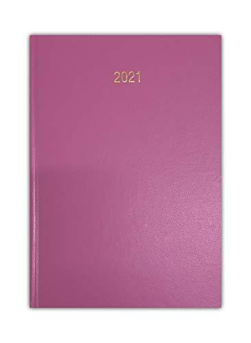 Agenda 2021, formato A4, con copertina rigida, copertina rigida, copertina rigida, pagine intere, sabato e domenica (rosa chiaro)