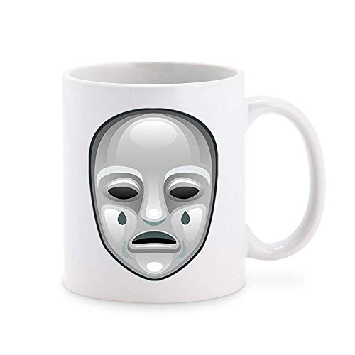 White Face Theatre Thespian Mask Expression Cartoon, Crying Coffee Mug Tea Cup Novelty Gift Mugs 11 oz