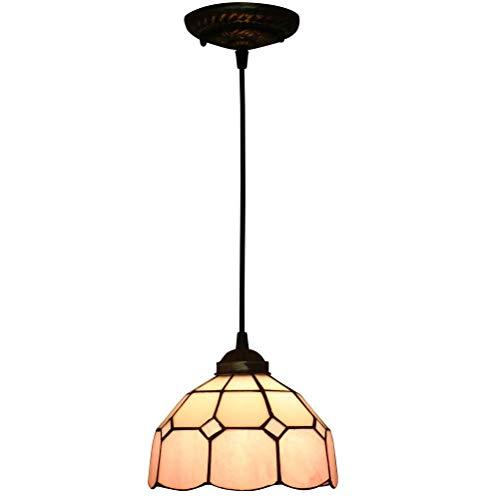 Lámpara colgante decorativa de interior, estilo Tiffany, cristal clásico, hecha a mano, diseño floral, para restaurante, escalera, balcón, salón, pasillo, escalera, E27, diámetro de 20 cm