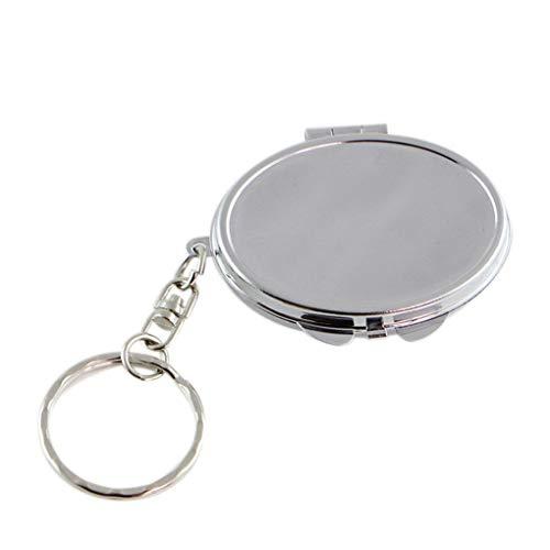 Babysbreath17 Ronde Coeur Ovale Sqaure Forme Double Sides Miroir cosmétique métal pliant Trousseau maquillage Mini miroir argent 4.7 * 3.5cm