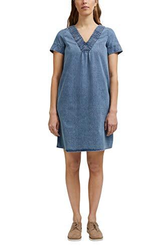 ESPRIT Damen 031EE1E324 Kleid, 902/BLUE MEDIUM WASH, 38