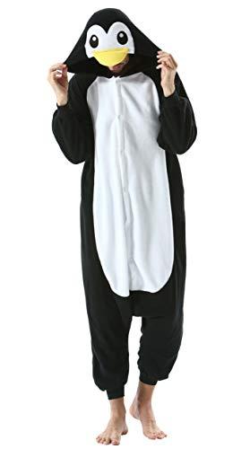 Jumpsuit Onesie Tier Karton Kigurumi Fasching Halloween Kostüm Lounge Sleepsuit Cosplay Overall Pyjama Schlafanzug Erwachsene Unisex Schwarz Pinguin for Höhe 140-187CM Damen Herren