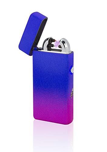 TESLA Lighter TESLA Lighter T08 Lichtbogen Feuerzeug, Plasma Double-Arc, elektronisch wiederaufladbar per USB, ohne Gas und Benzin, mit Ladekabel, in edler Geschenkverpackung, Sonderfarben Mixed-Blau Mixed-blau
