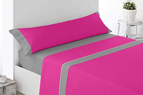 Cabetex Home - Juego de sábanas Lisas - Colores Combinados - 3 Piezas - Microfibra Transpirable (Fucsia/Gris, 135_x_190/200 cm)