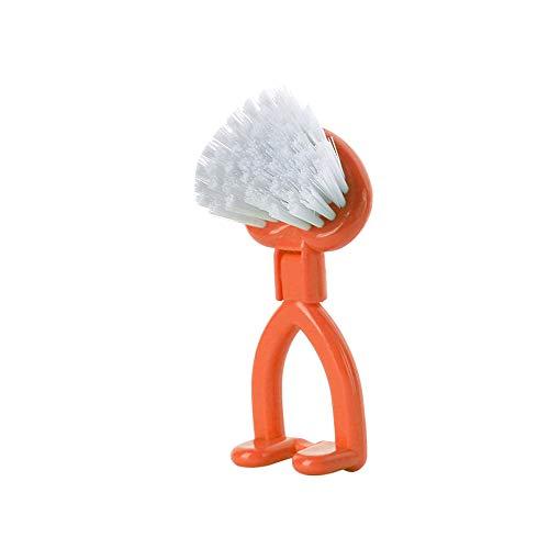 SIXCUP Reinigungsbürste Handwaschbürste Spin Scrubber Handbürste Haushalt Küche Reinigungs Bürste Küche Reinigung Mehrzweckbürste Schüssel Topfbürste Topfbürste für Badezimmer (Orange)