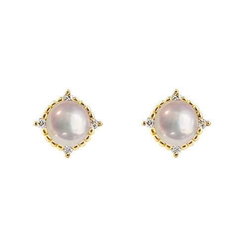 KGDC Earrings Natural Pearl Stud Earrings Feminine Temperament 925 Silver Simple Earrings Retro High Sense New Trend Ear Stud Jewelry