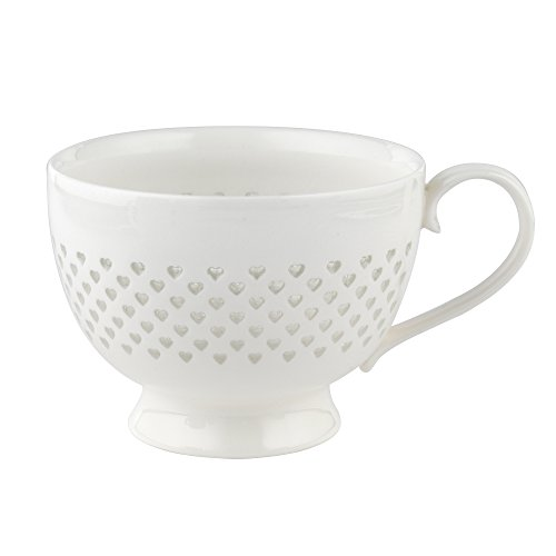 Cambridge CM05187 Lace-Tasse aus feinstem Porzellan mit kleinen Herzen, Keramik, weiß, 11.3 x 6.6 x 8.5 cm