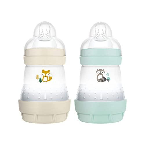 MAM Easy Start Anti-Colic Elements - Set di 2 biberon da 160 ml per allattamento, biberon con valvola di fondo contro le coliche, 0+ mesi, volpe e orso di lavaggio – Istruzioni in lingua straniera