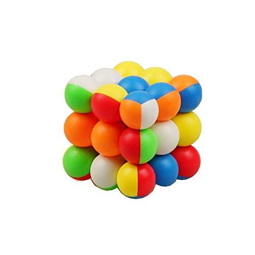 陽光の道 3x3丸珠マジックキューブ 3x3x3 スピードキューブ 競技用 立体パズル キューブパズル 知育玩具 脳トレ ストレス解消キューブ カラー シールなし 6歳以上適合します