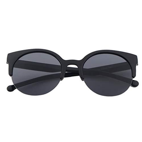WXZQ Diseño de Moda Unisex Clásico Forma Redonda Marco Circular Gafas de Sol sin Montura Gafas al Aire Libre Hombres Mujeres Gafas de Sol Negro