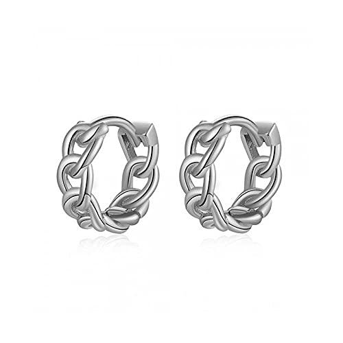 XQAQW Pendientes de Mujer genuinos 925 Plata esterlina para Aniversario o Compromiso Regalo cúbica Negro Zirconia -Silver_Color
