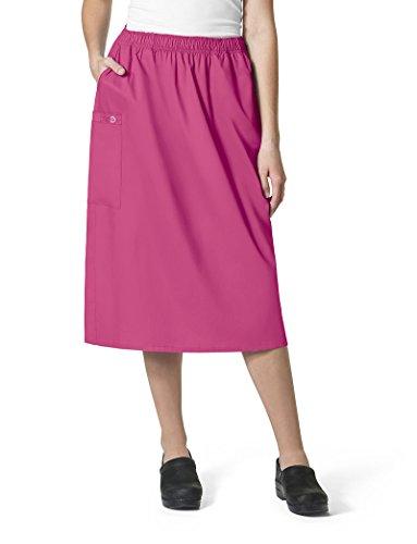 WonderWink Women's Size Wonderwork Plus Pull-on Cargo Scrub Skirt, Fuchsia, 4X-Large