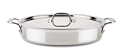 All-Clad ST4404.58 D3 Compact Stainless Steel Dishwasher Safe Sear & Roast Cookware, 4.5-Quart, Silver