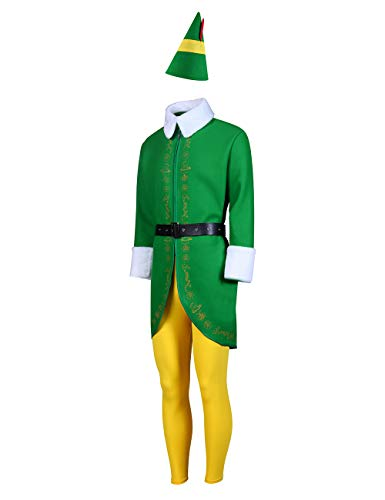 LILLIWEEN Adults & Kids Elf Costume Holiday Green Christmas Party Outfits L