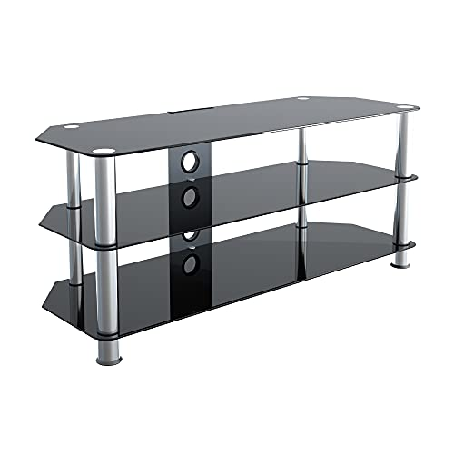"""mahara Glass TV Stand Unit for HD LED LCD 4K 8K QLED TVs up to 55"""" inch by TV Furniture Direct (114cm, Black Glass, Chrome Leg, Cable Management)"""