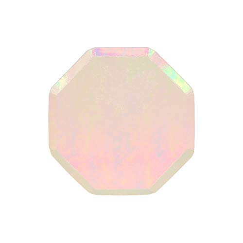 Meri Meri Iridescent Paper Plates - Disposable Party Supplies, for Birthday Parties, Baby Showers, and Wedding Celebrations, Small 6.25 x 6.25 Inch Size, Pack of 8