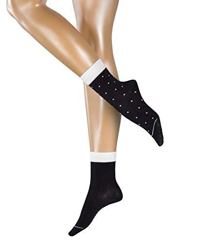 ESPRIT Damen Socken Small Dots 2er Pack - 80% Baumwolle, 2 Paar, Schwarz (Black 3000), Größe: 39-42