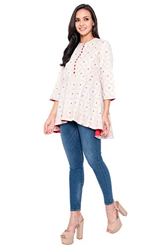 COLOR VALLEY Women's Cotton Casual Wear Printed White Short Kurti/Tunic/Top for Girls