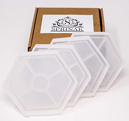 Sprinak - Juego de 4 moldes de silicona para posavasos de resina hexagonal, moldes de resina epoxi para hacer posavasos, posavasos para fundición de resina